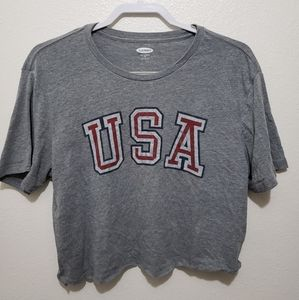 Old Navy Cropped USA Shirt